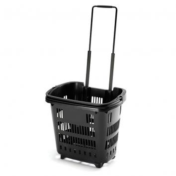 Wheeled Basket 34ltr - Recycled Black
