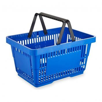 22 Litre Blue Plastic Shopping Basket Single Handle