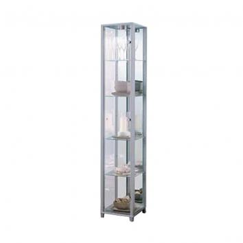 32 x 33 x 172cm Aluminium Framed Display Cabinet With Mirror Back, Light, Lock, and 4 Shelves FLAT PACK