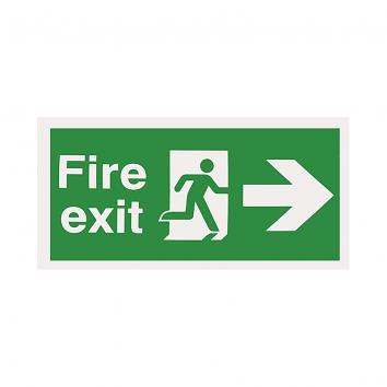 Safety Sign -  Fire Exit Arrow Right  150 x 450 Rigid