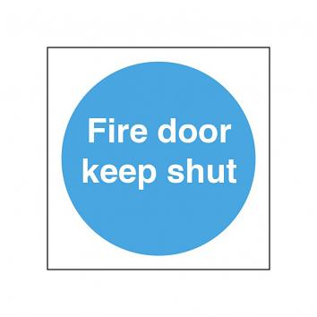 Safety Sign - Fire Door Keep Shut   100 x 100 - S/A Vinyl