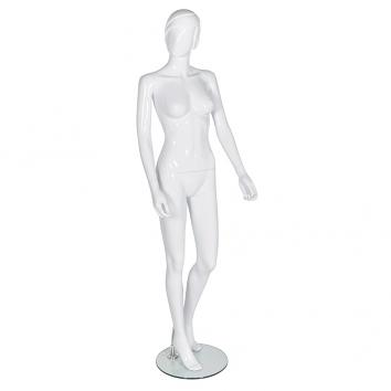 R313 Abstract Female Gloss White Plastic Mannequin With Glass Base