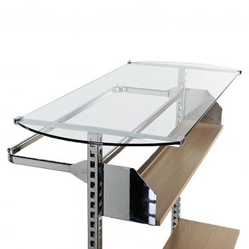 1200mm Glass Top Shelf (8mm) For Chrome Gondola Unit