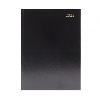 A5 Black 2 Days Per Page  Diary - 2022