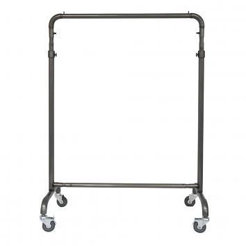 3' Clear Coated Steel Garment Rail with HD Wheels