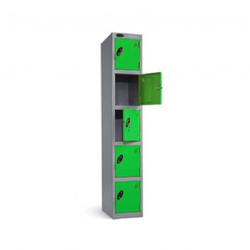 300x300x1800mm Locker - 5 Door Grey/Green
