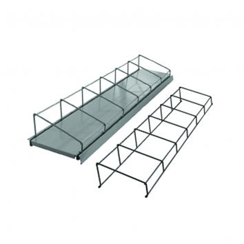 935x200mm 6-Section Media Rack Silver For Grooved Shelf