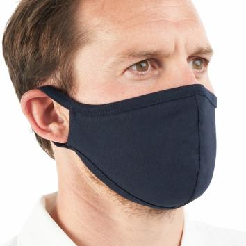 Navy Blue Washable Cotton Mask With Ear Loops