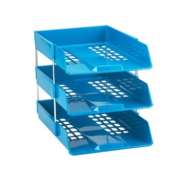 A4 Blue Letter Tray 278x390x70mm Stackable (Raisers Sold Separately)