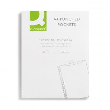A4 Punched Pockets Polypropylene 50 Micron Clear (Pack of 100)  (100)