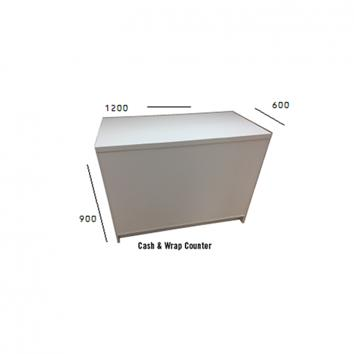 1200x600x900mm White Cash n Wrap Counter,  Open Back.  Adjustable Shelves