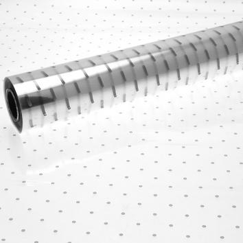 Printed Cellophane Roll 80cm x 100m - Silver Dot