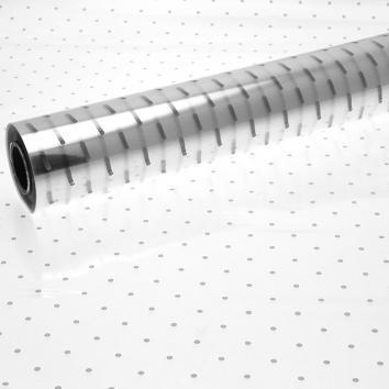 Printed Cellophane Roll 80cm x 100m - Silver Dot