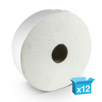 90x200m 2 Ply White Mini Jumbo Toilet Rolls - 60MM CORE (12)