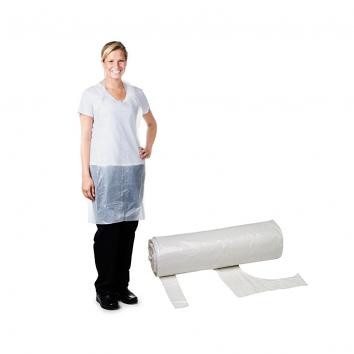 White Polythene Disposable Aprons on a Roll - Case Of 1000