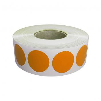 20mm Round Plain Orange Paper Labels on a Roll (1000)